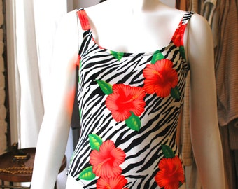90s One Piece Bathing Suit  Zebra & Floral Print 10 Med/L