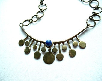 Bronze Studio Necklace Lapis Brutalist Modernist Signe J. Thompson Jack Boyd Era 1970's 1980's Unique OOAK Vintage