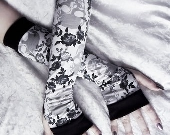 Fleur Minuit Arm Warmers | White w/ Grey & Black Roses and Skulls | Yoga Gothic Belly Dance Tribal Vampire Cycling Gypsy Charcoal Silver