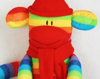 Stuffed Toys, Sock Monkey Doll Rainbow Stripes, Stuffed Animal, Kids