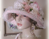 Antique Style 1920s Gatsby Downton Style Silk Hat Pink and Ivory Lace & Vintage Silk Flowers Wedding - 1920s silk Downton Abbey style Hat