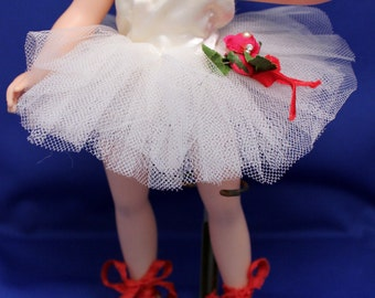 Doll Tutu Ballet Shoes Original Clothes 11 inch Toni Jill Cissette Madame Alexander White Netting Satin Red Rose
