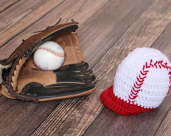 Baby Baseball Cap - Newborn Photo Prop - Baby, Toddler, Child, Adult Sizes - Baby Baseball Hat - Halloween Costume - Crocheted Baseball Hat