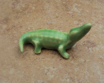 Alligator Hand Painted Glazed Miniature Collectible Ceramic Figurine, Altered Arts