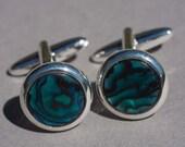 Blue abalone cufflinks, blue shell cuff links.