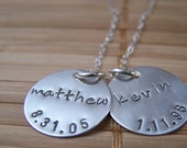 Family Necklace, Mom Necklace, Hand Stamped Two Charm Name Necklace in Sterling Silver