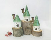 Fairy Houses -Set of 3- White Houses with Green  Roofs - Holiday Decoration - Garden Houses - Ready to Ship