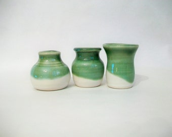 Little Vases - Set of 3  - Small Vases - Mini Vases - Green over White - Ready to Ship