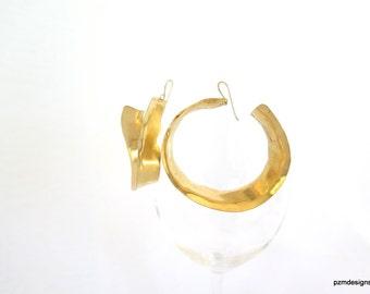 Large brass hoops, inside outside gold hoop earrings, artisan jewelry