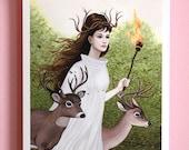 Deer Forest / 8.5x11 Fine Art Giclée Print / Fantasy Art Print / Woodland Illustration / Gouache Painting, Deer Spirit Art