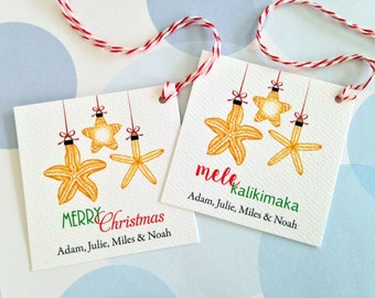 Christmas Gift Tags, Personalized Christmas Tags, Custom Holiday Tags, Beach Tags, Set of 24