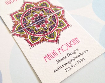 Mandala Business Cards, Custom Business Cards - Set of 48