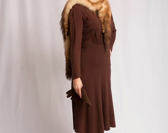 Bombing Raids Over the East End - Vintage WW2 1940s NY Creation Cinnamon Brown Crepe Dress w/Brass Studding - 10/12