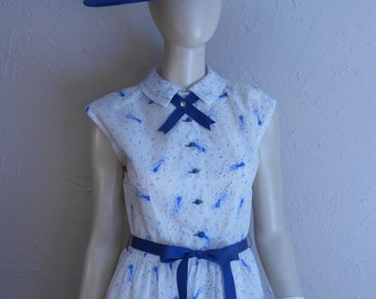 On The Town - Vintage 1949 New Look Semi Sheer White Dress w/Blue Ribbon Detail Adorable Collar  - 2/4