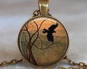 Winter Wings necklace, crow necklace, crow pendant crow jewelry crow charm crow jewellery crow keychain crow key chain key fob