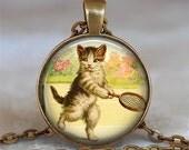 Tennis Kitten necklace, cat jewelry, tennis necklace, tennis player gift, tennis jewelry, tennis lover gift tennis keychain
