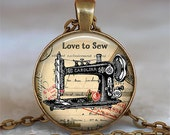 Love to Sew necklace, Seamstress necklace, antique sewing Machine pendant seamstress gift, dressmaker keychain