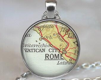 Rome map pendant, Rome map necklace, Rome pendant, Rome necklace, vintage map jewelry Rome keychain key chain key fob