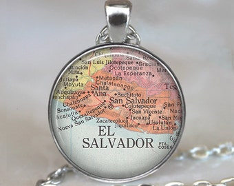 El Salvador map necklace, El Salvador map pendant, El Salvador necklace, El Salvador pendant, map jewelry, San Salvador keychain