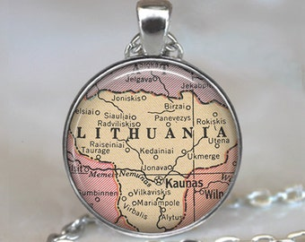 Lithuania map necklace, Lithuania map pendant, Lithuania necklace, Lithuania pendant, map jewelry Lithuania key chain key ring key fob