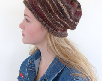 Brown Slouch beanie Brown Knit Hat Womens winter beanie hat