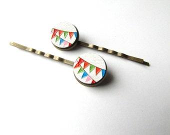 Colorful Pennant Bobby Pins, Flag Bunting Circus Party Hair Pins
