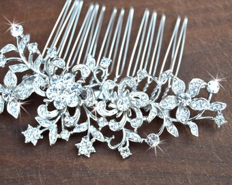 Bridal Crystal hair comb - wedding hair piece, Swarovski crystal hair comb- Flower comb,Vintage Glam / Garden wedding