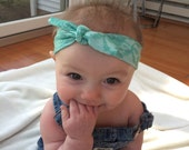 Head wrap, baby, toddler, adult, bow, head bow, head band, head turban, lace, green, spring, summer