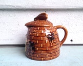 vintage 50s TROPIC BEE ceramic HONEY Pot from Edgewater, Florida - bee hive jar, kitchen collectibles, syrup pitcher, original label + cork