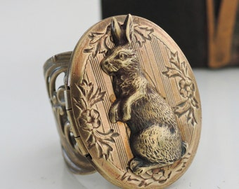 Vintage Ring - Locket Ring - Rabbit Jewelry - Rabbit Ring - Bunny Ring - Statement Ring - Adjustable Ring - handmade jewelry