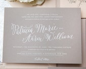 INVITATION SAMPLE The Cirque Suite - White and Grey Calligraphy Wedding Invitation - Heirloom Wedding Invitations by Sincerely, Jackie