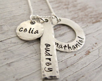3 Kid's Name Necklace, Personalized Mother's Necklace, Grandmother, Grandkids Names, Hand Stamped, Mother's Day Gift