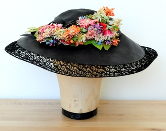 Antique Black Edwardian Sun hat/Millinery flowers/Colorful daisies/One of a kind