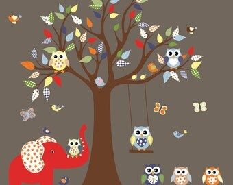 Vinyl Wall Decal   Tree Decal Nursery Wall Stickers Colorful Tree Owl Wall Decal Elephant