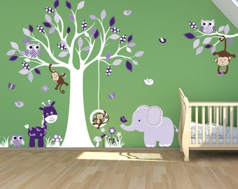 Jungle Safari Tree -  Purple Zoo Animals and Tree Wall Decal - Tree Nursery Decal - Kids Wall Sticker - Vinyl Wall Decal