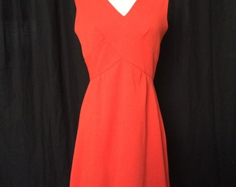 1960s Mod Orange Wiggle Dress with Anchor Details