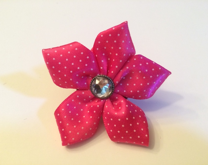 """2"""" Bright Pink Polka Dot Pet Collar Flower for small breed Dogs, cats, ferets or bunnies"""