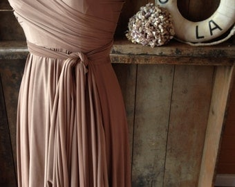 Newport Coast Mocha Silky Satin Jersey-Octopus Convertible Wrap Short  Dress- Bridesmaids, Wedding, Etc.