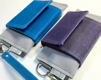 Cell Phone Wallet, Wristlet, iPhone/Galaxy, Hand-Waxed Canvas and Wool Felt