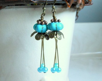 Turquoise Pumpkin Earrings Pumpkin JewelryTulip Earrings