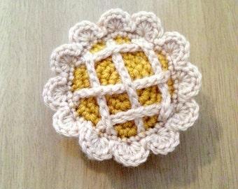 Peach Pie or Apple Pie, Crochet Food, Pretend Play Food, Amigurumi Kids Toy, Food Plushies, Crochet Kitchen Decor