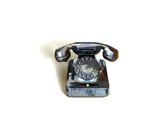 black rotary phone brooch pin . vintage telephone tie tack