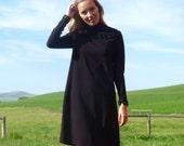 70s Wednesday Adams Black Long Sleeve Tent Dress xs s