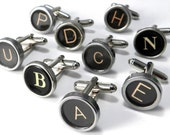 Mens VINTAGE Typewriter Key Cufflinks - Wedding Cuff Links ANY 2 LETTERS - Custom - Choose your letters - Initials