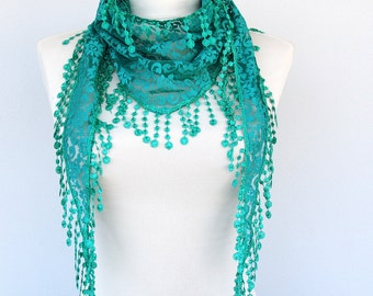 Lace scarf teal green scarf fringe shawl lace head wraps hip scarf summer scarves lace spring scarf skinny scarf gift for her AZURE