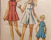 Vintage Sewing Pattern Retro 1970s Misses Tennis Sports Dress and Shorts Size 14