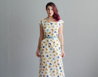 50s Summer Dress - Vintage 1950s Floral Dress - Pansy Path Dress