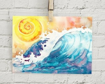 """Ocean Surf : 5x7"""" print, wave"""