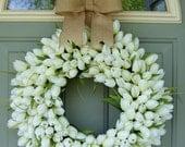 Spring Wreath -  Spring Tulip Wreath - Tulip Door Wreath