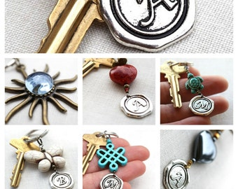 Summer Outdoors Monogram Keychain Personalized Keychain Initial Keychain Personalized Dad Gift Wax Seal Gift for man or woman